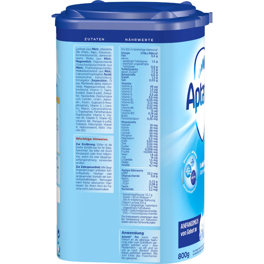 Aptamil 스타터 공식 Pronutra PRE ADVANCE 4 x 800 g 출생