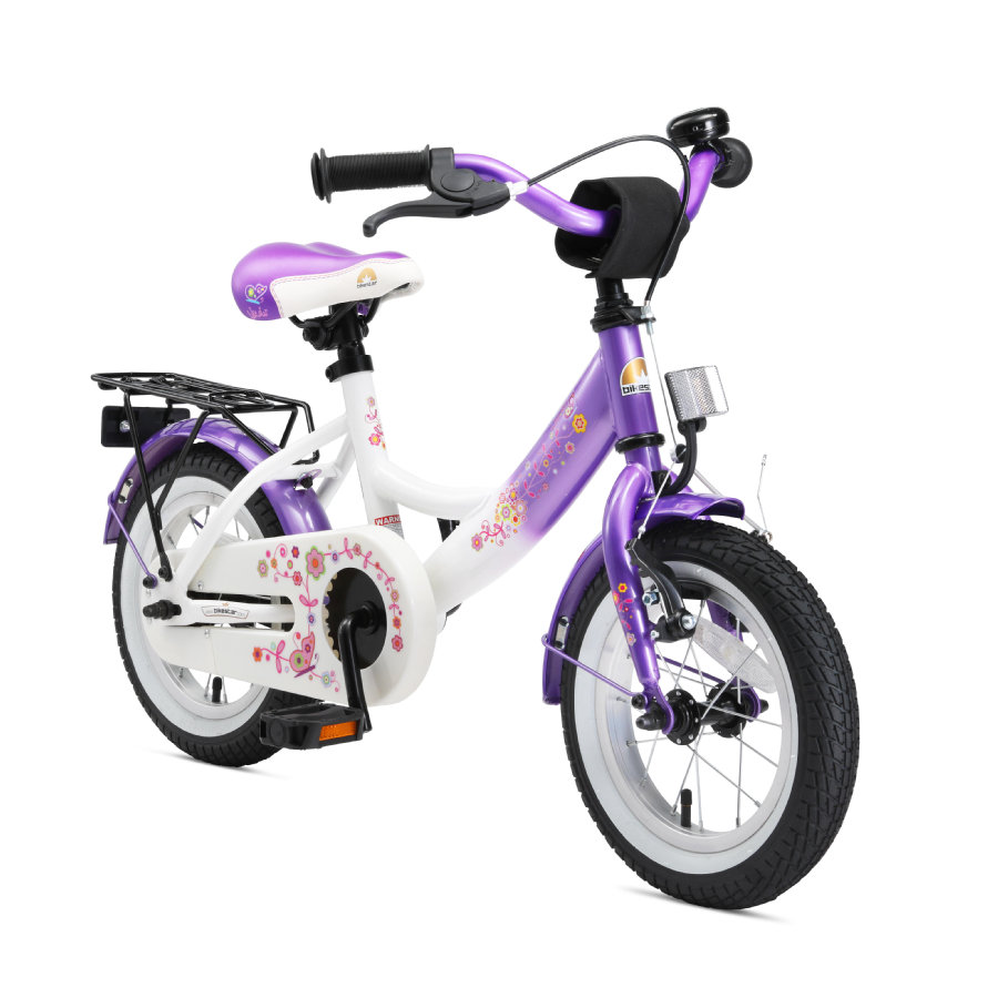 "bikestar® Vélo enfant premium 12"" blanc/violet"