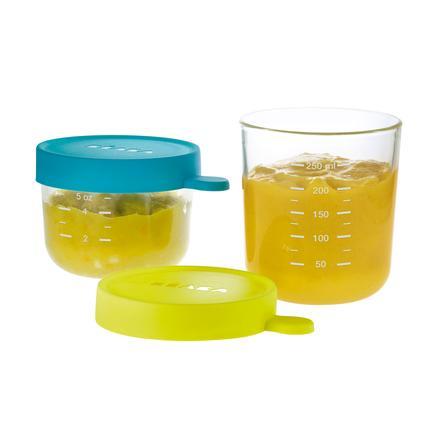 BEABA Coffret 2 portions verre bleu/vert 1 x 150 ml, 1 x 250 ml