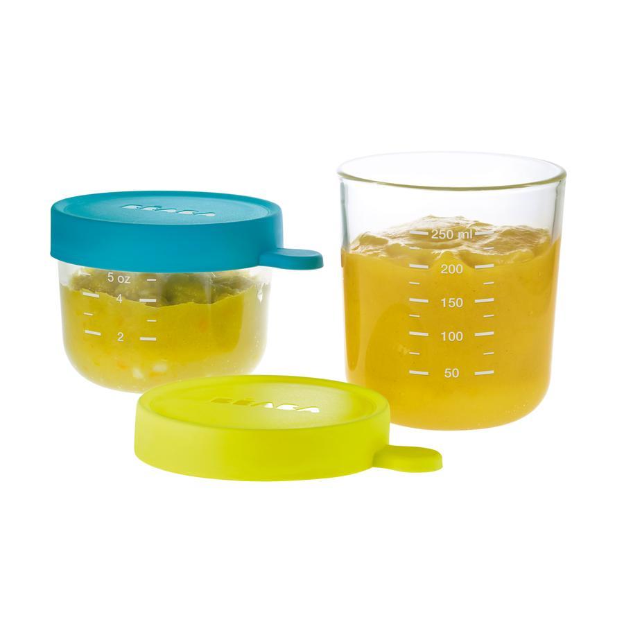 BEABA Boxy na uchování potravin, modrá 150 ml / zelená 250 ml