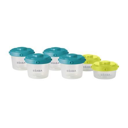 BEABA Portionsbeholdere blå / gul 2 x 60 ml / 4 x 120 ml
