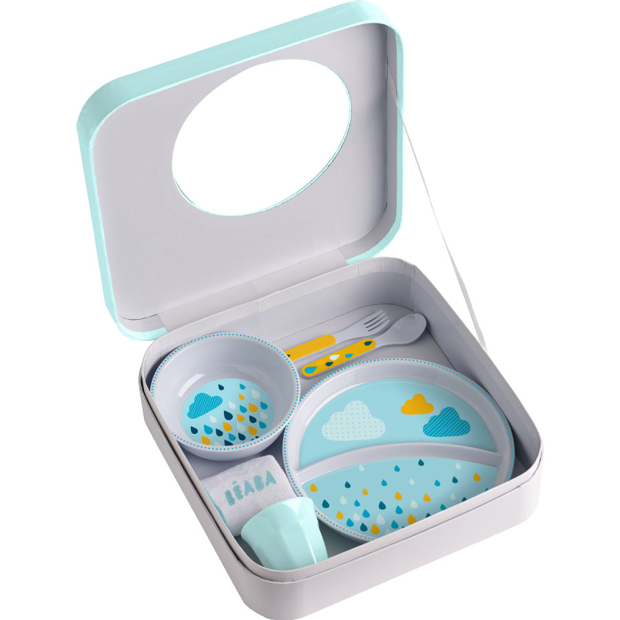 BEABA Coffret repas cadeau rainbow 5 pièces bleu, 6 m+