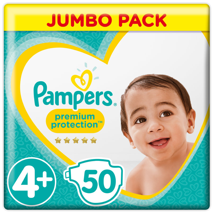 Pampers Couches Premium Protection T. 4+ Jumbo Pack 9-18 kg 50 pièces