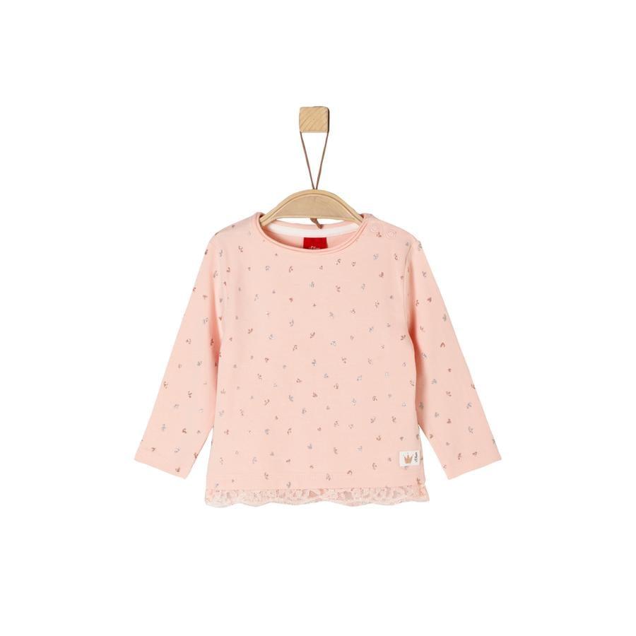s. Oliver Tyttöjen pitkähihainen paita vaaleanpunaisia ??pisteitä