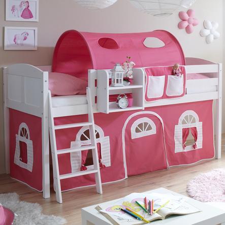 TICAA Patrová postel Eric borovice bílá Country růžovo-bílá venkovský styl