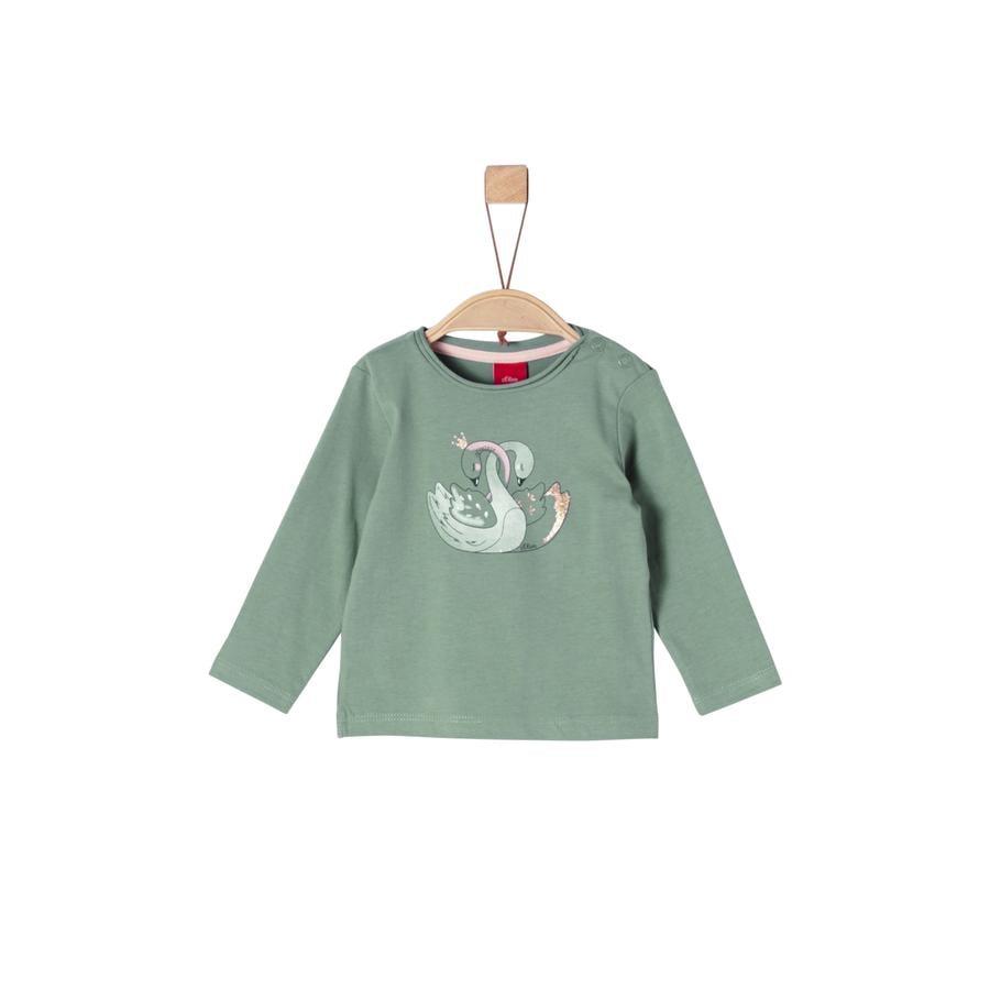 s.Oliver Girl s shirt met lange mouwen, donkere muntzwanen