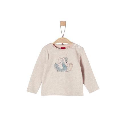 s.Oliver Girl s koszula z długim rękawem w kolorze beżowym melanżowym