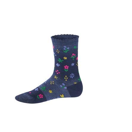 FALKE Socken Denim Flower dark blue melange
