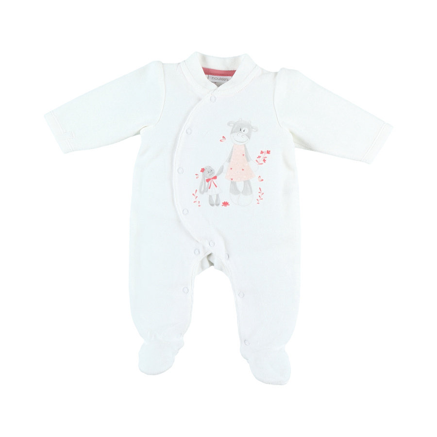 noukie Boys 's Pajama's 1-delige Jersey Paco wit