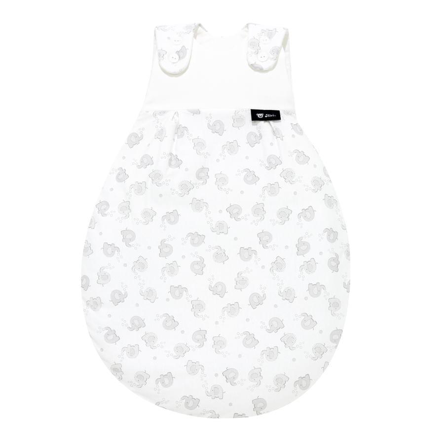 Alvi Baby Mäxchen® - Sacco nanna estivo Original, elefanti a strisce argento