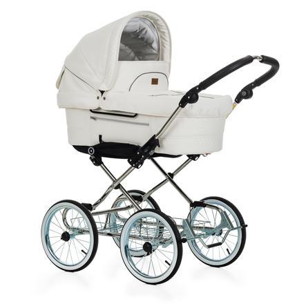 Emmaljunga Kinderwagen Duo De Luxe Chrome Mondial de Luxe Lounge Leatherette White