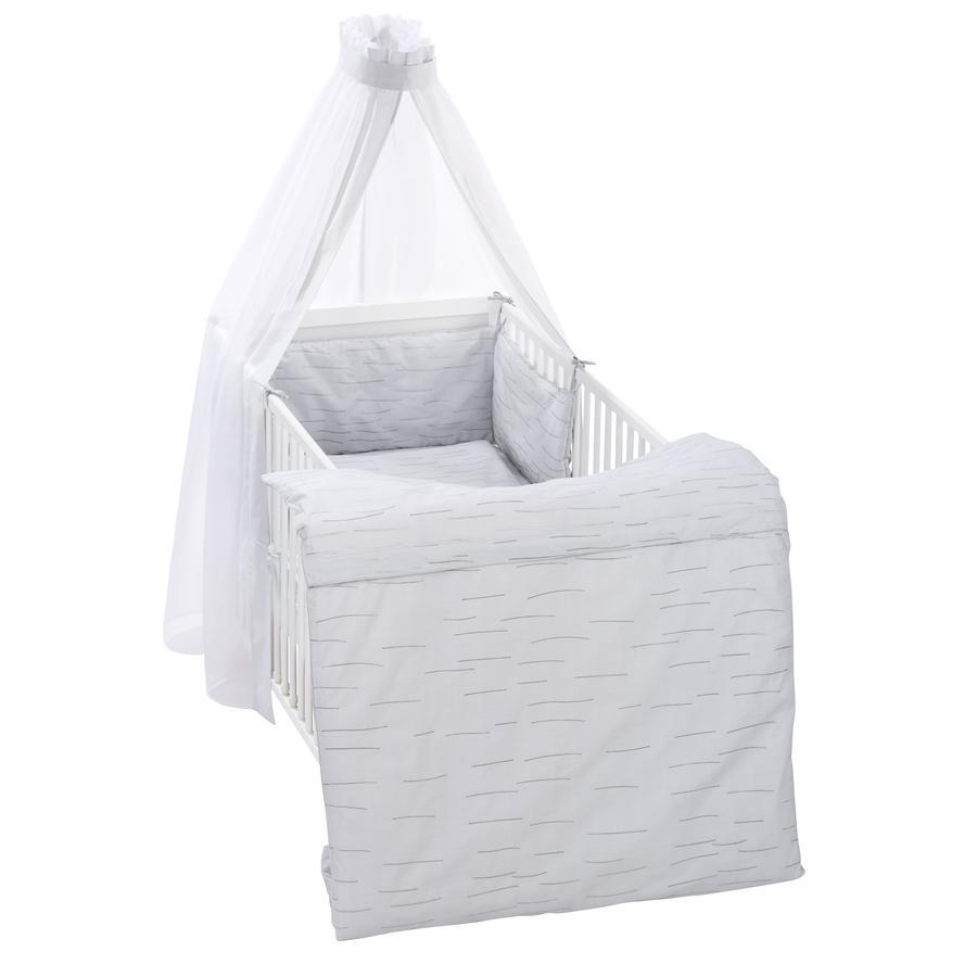 Alvi Parure de lit enfant rayures grise, 3 pièces 100x135 cm