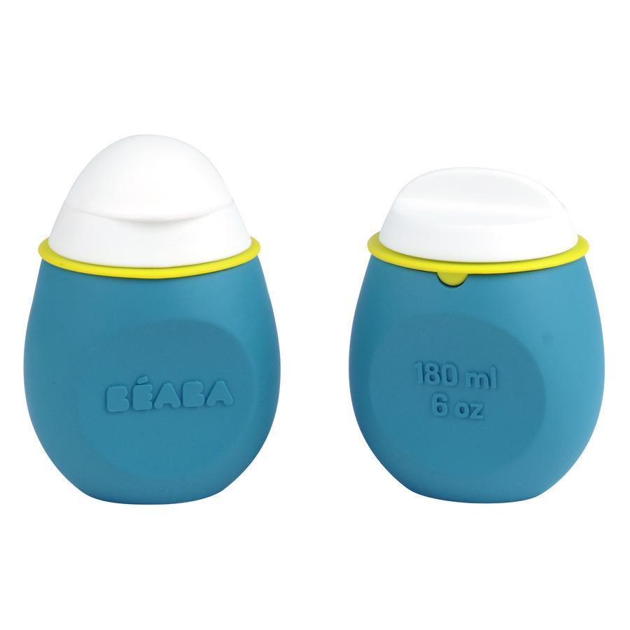 BEABA Dětská láhev sada Babysqueez '2 v 1 a skladovací nádobka Squeez'Portion modrá 180 ml