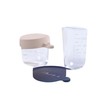 BEABA Coffret 2 portions verre bleu/rose 1 x 150 ml, 1 x 250 ml