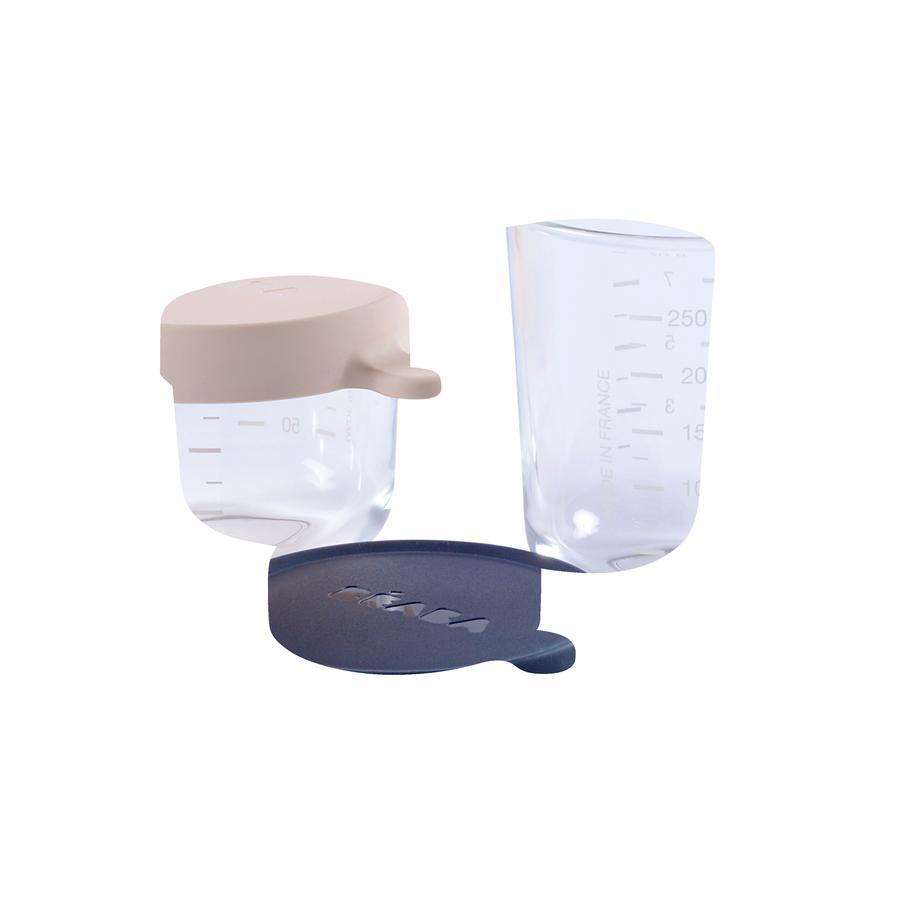 BEABA Opbevaringsbeholder sæt lyserød 150 ml / blå 250 ml