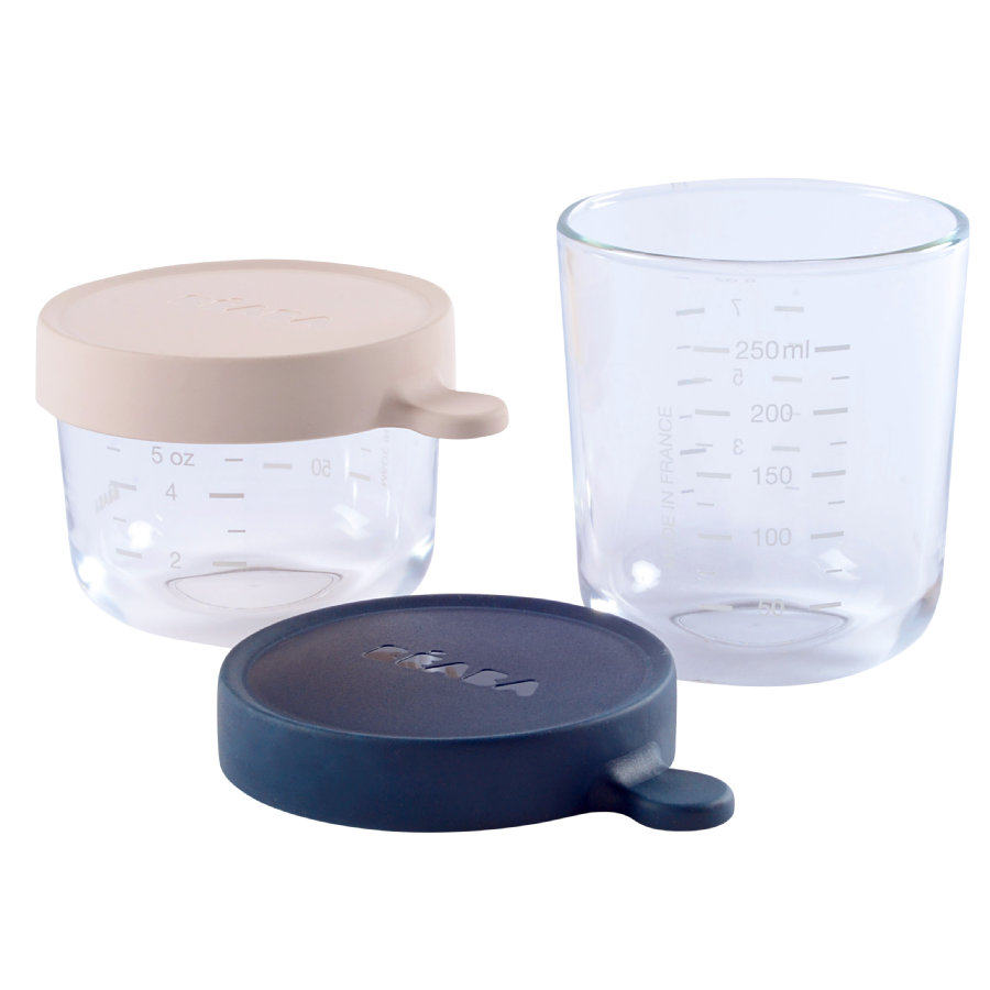 BEABA Set de contenedores de almacenamiento rosa 150 ml / azul 250 ml