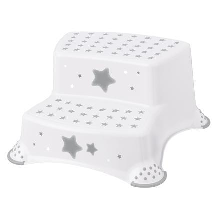 keeeper Sgabello a 2 gradini antiscivolo stars bianco