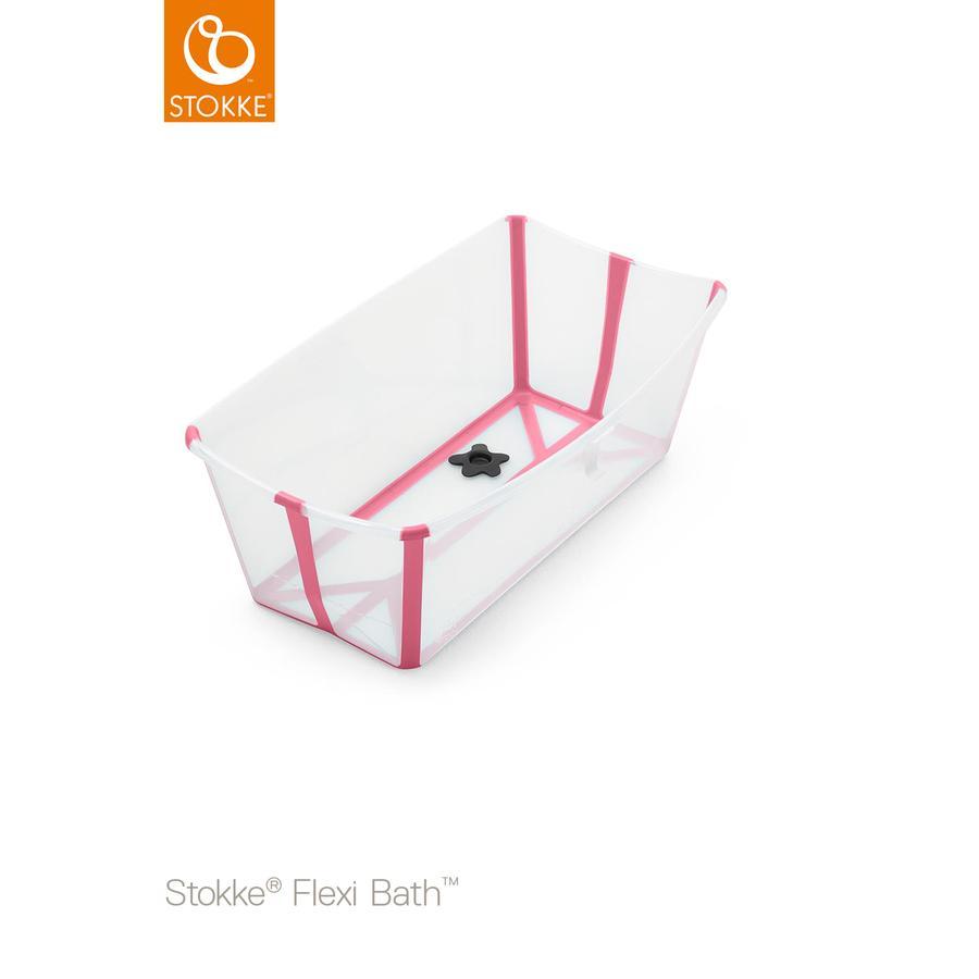 STOKKE® Babywanne Flexi Bath® transparent pink mit hitzeempfindlichem Stöpsel