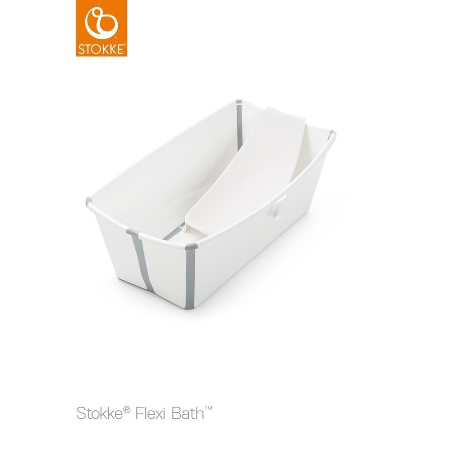 STOKKE® Badewanne Flexi Bath™ Set mit hitzeempfindlichem Stöpsel und Neugeborenenaufsatz weiß ab der Geburt