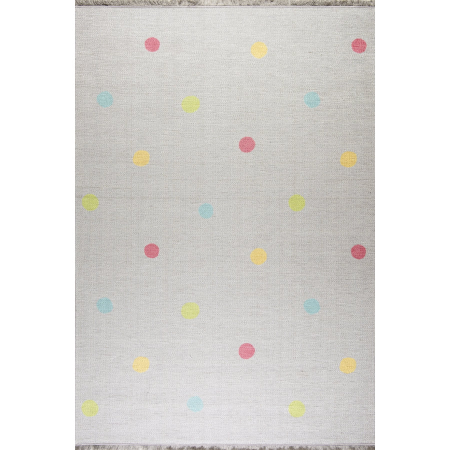 LIVONE Barnmatta Happy Rugs Love you Dots silvergrå/multi, 100 x 160 cm
