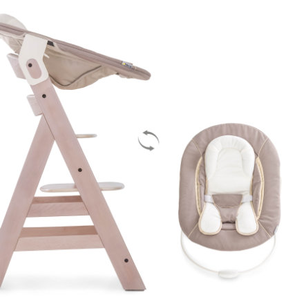 hauck Hochstuhl Beta Plus Whitewashed inklusive Bouncer 2in1 Stretch Beige
