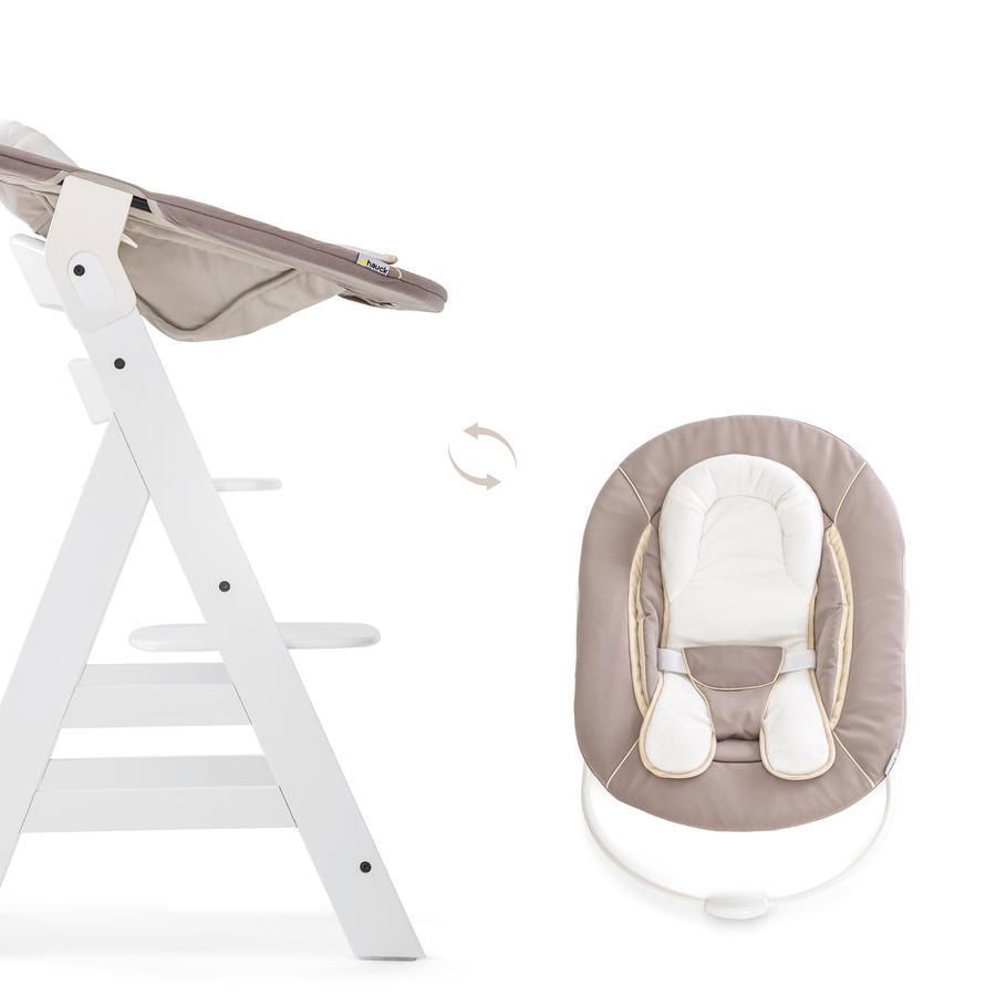 hauck Chaise haute Alpha Plus blanche inclus transat Bouncer stretch beige