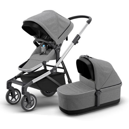 THULE Geschwisterwagen Sleek mit Babywanne Grey Melange
