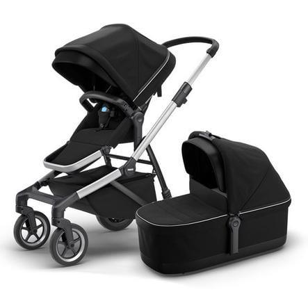 THULE Kombikinderwagen Sleek mit Babywanne Midnight Black