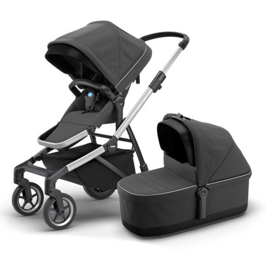 THULE Geschwisterwagen Sleek mit Babywanne Shadow Grey