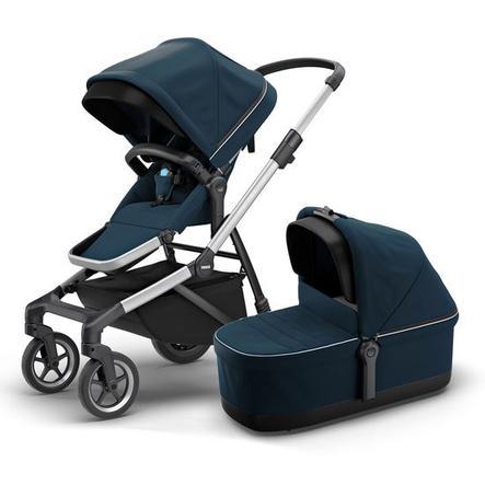 THULE Geschwisterwagen Sleek mit Babywanne Navy Blue