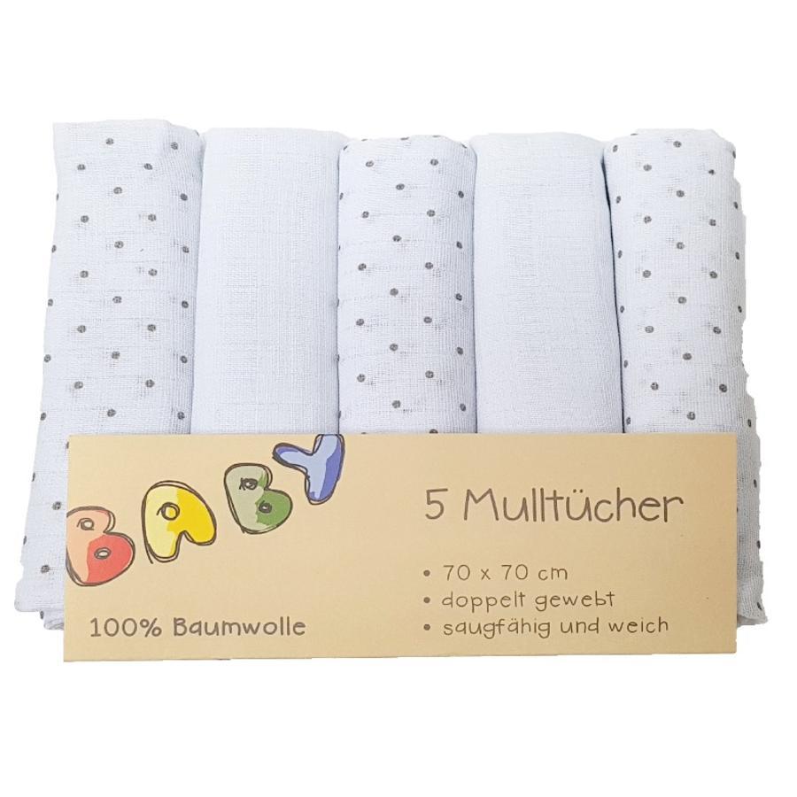 HÜTTE & CO moltonklude 5er-Pack grå Prikker