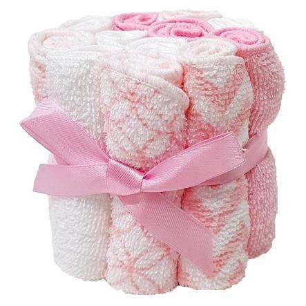 HÜTTE & CO Gant de toilette enfant rose lot de 12