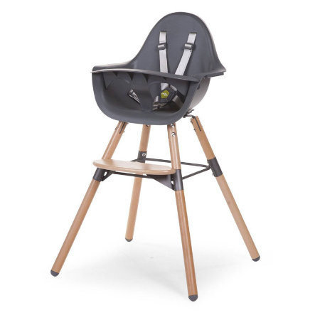 CHILDHOME Chaise haute enfant Evolu 2 2 en 1 bois naturel/gris, arceau