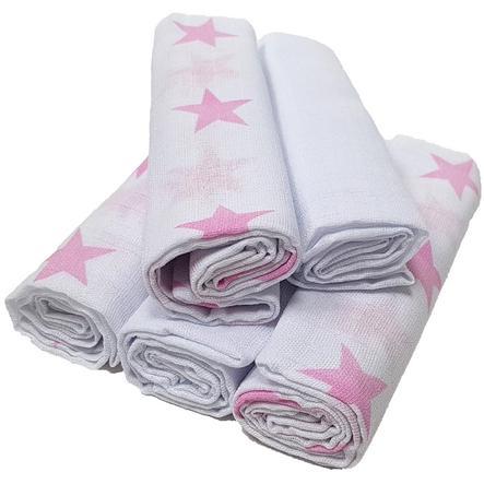 HÜTTE & CO Mulltücher 5er-Pack Sterne rosa