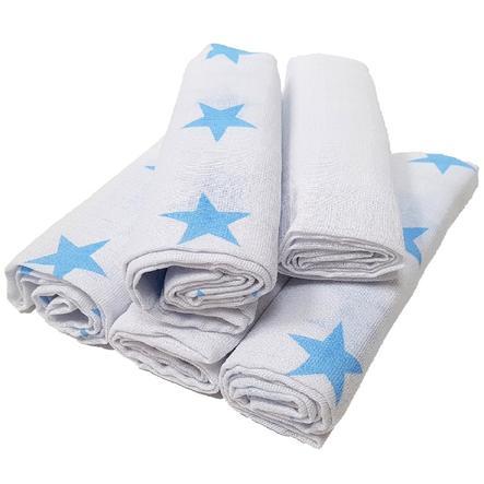HÜTTE & CO Lange bébé étoiles bleu 80x80 cm lot de 5