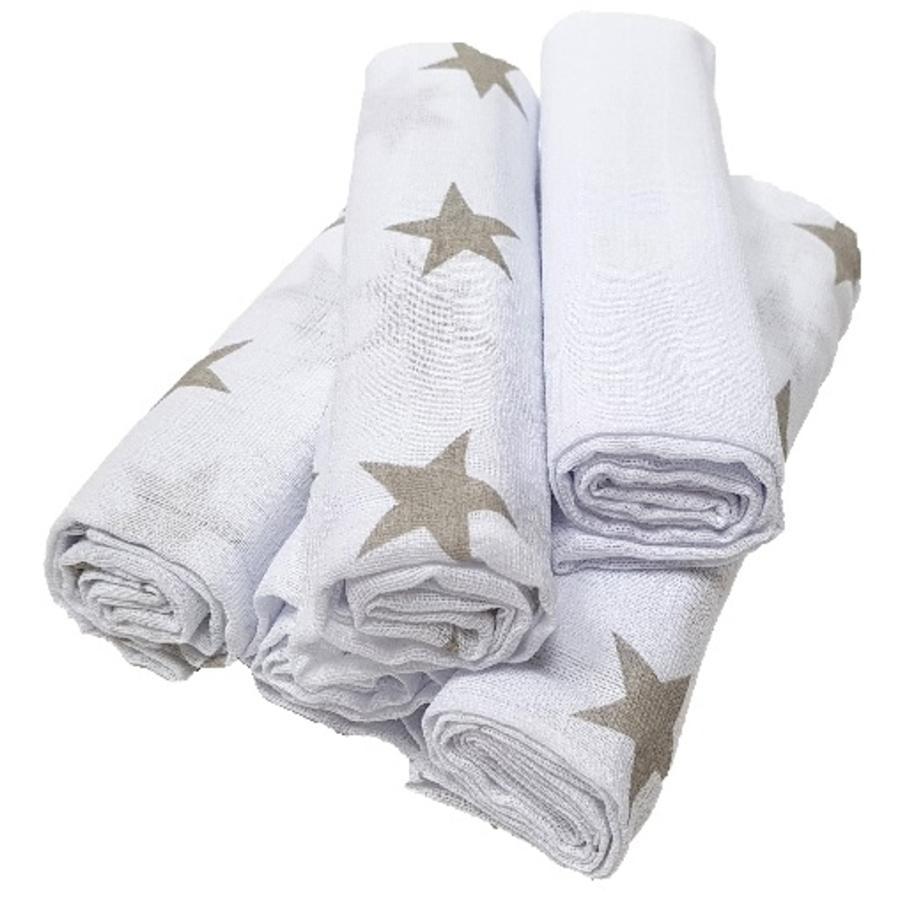 HÜTTE & CO mulové plenky 5 ks, šedé hvězdičky