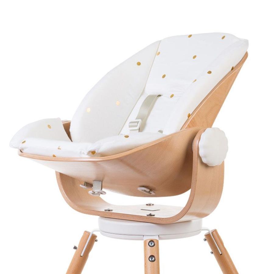 CHILDHOME Pehmuste vastasyntyneen istuimeen Evolu pilkullinen valkoinen/kulta