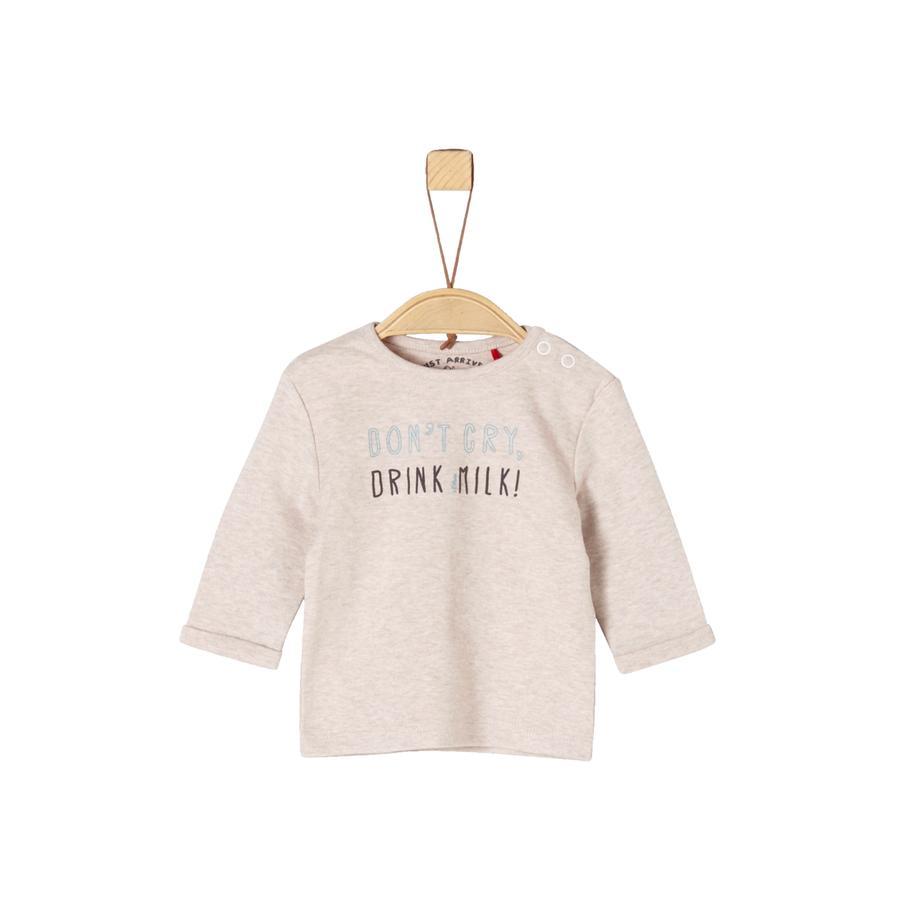 s.Oliver Langermet skjorte for gutter beige melange