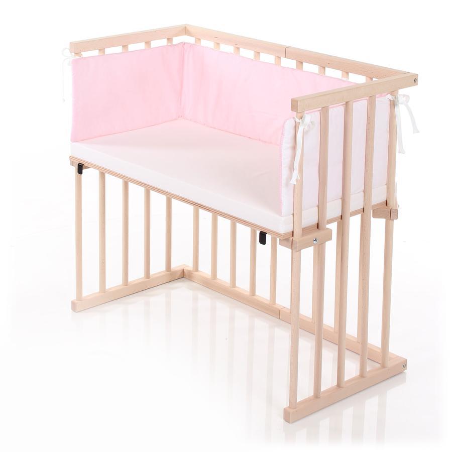 DREAMGOOD Sivuvaunusänky, puunvärinen + Prime-patja + reunapehmuste vaaleanpunainen/valkoinen