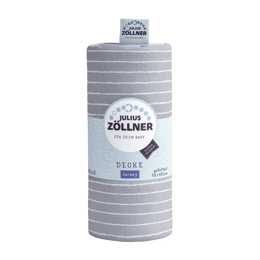 JULIUS ZÖLLNER Jerseydecke Grey Stripes 70 x 100 cm gefüttert
