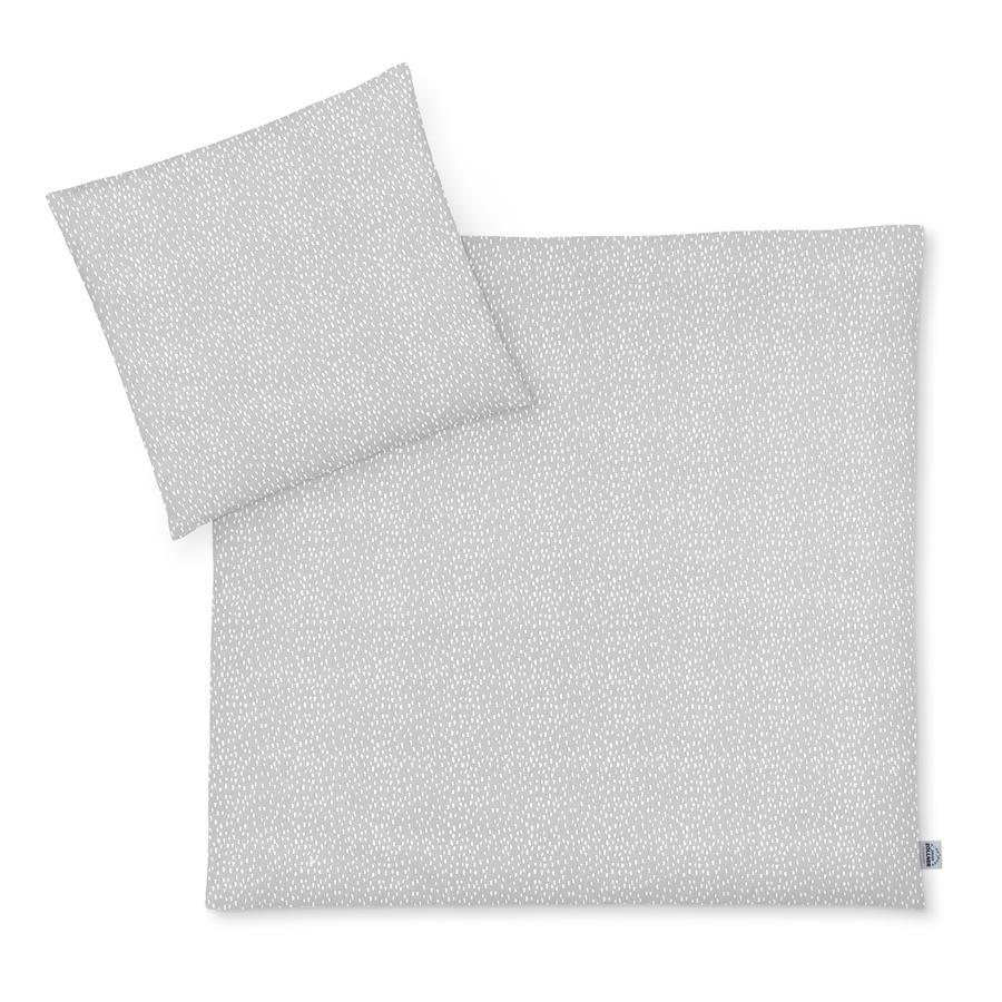 JULIUS ZÖLLNER Jersey Bettwäsche Tiny Squares Grey  80 x 80cm
