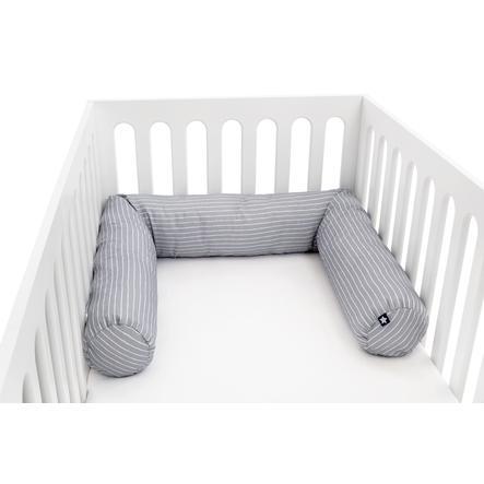 JULIUS ZÖLLNER Tour de lit enfant traversin rayures grises 180 cm