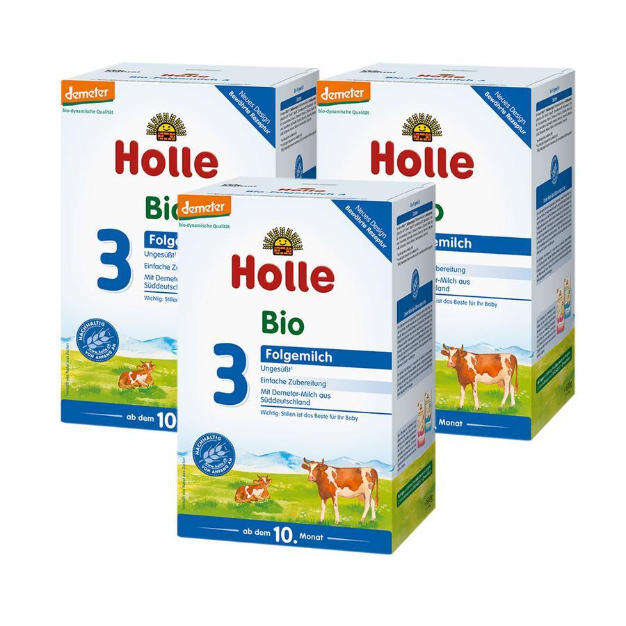 Holle Bio Folgemilch 3 3 x 600 g ab dem 10. Monat
