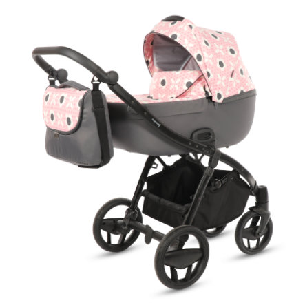 knorr-baby Cochecito combinable Piquetto Limited Edition flores/rosa-gris