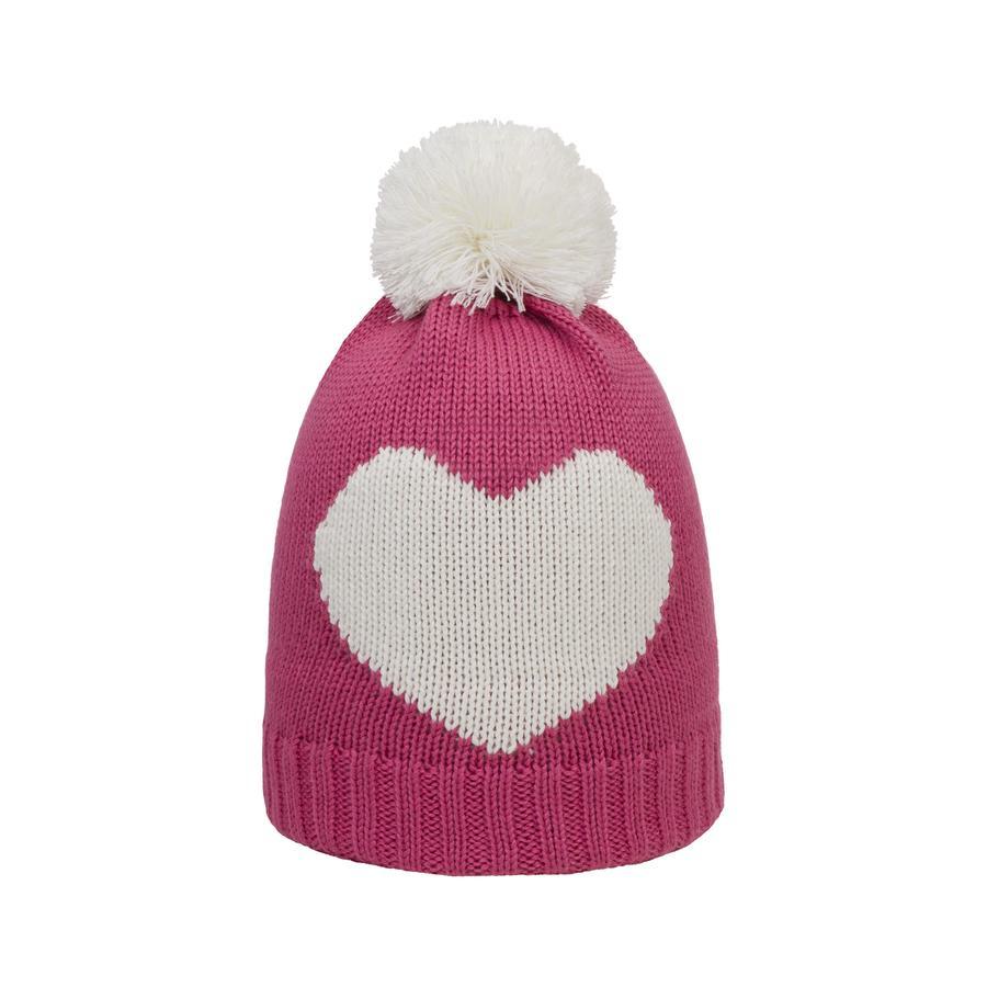 Döll Girl Bonnet tricoté en forme de bobble hat, rose/rose