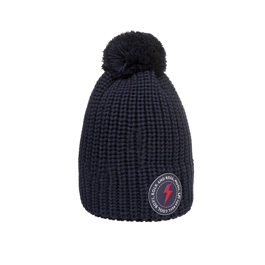 Döll bobble hat stickad, blå