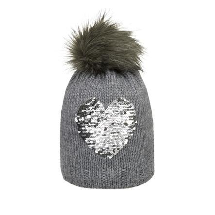 Döll Girl s bobble hat knit, szare serce.
