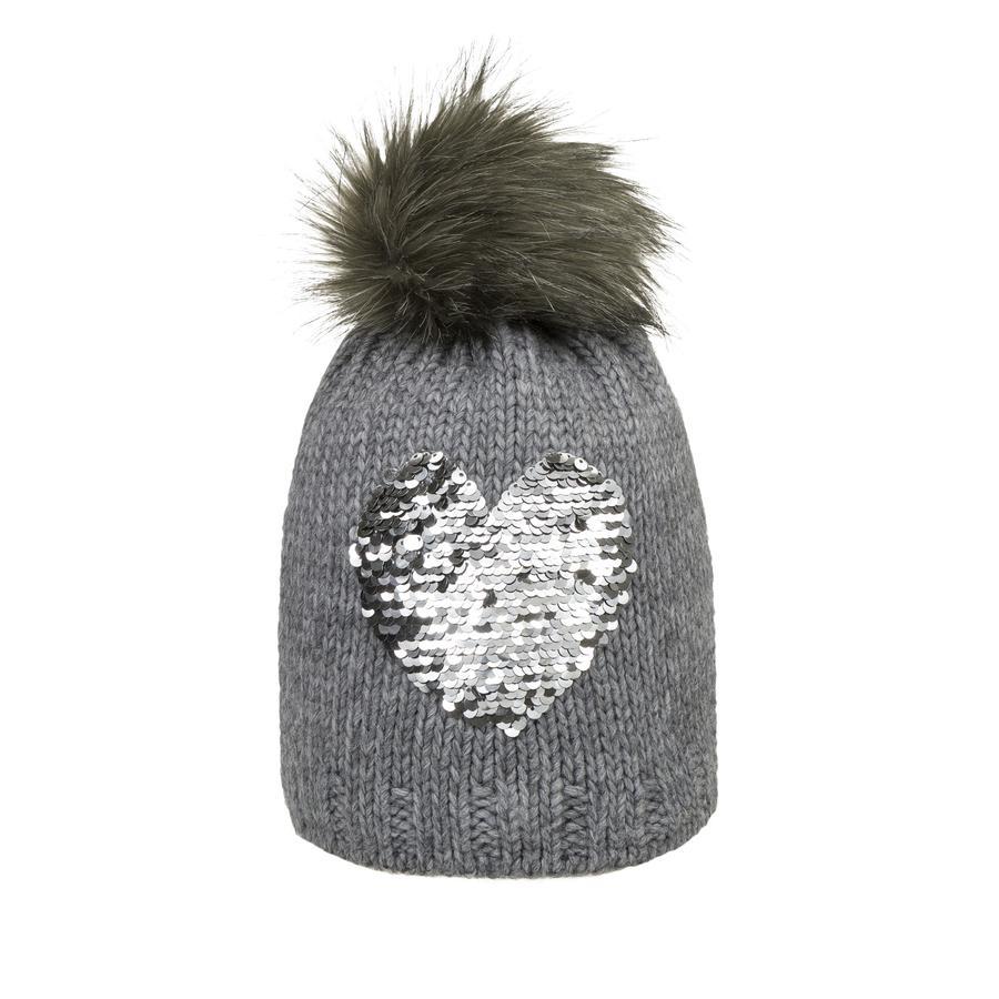 Döll Girl Bonnet tricoté en forme de bobble hat, coeur gris