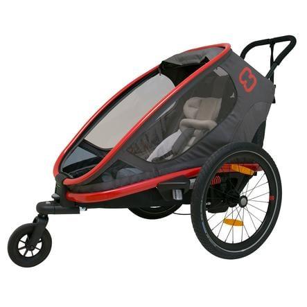 Hamax remolque de bicicleta para niños Outback One con ajuste de respaldo - Rojo/Gris/Negro