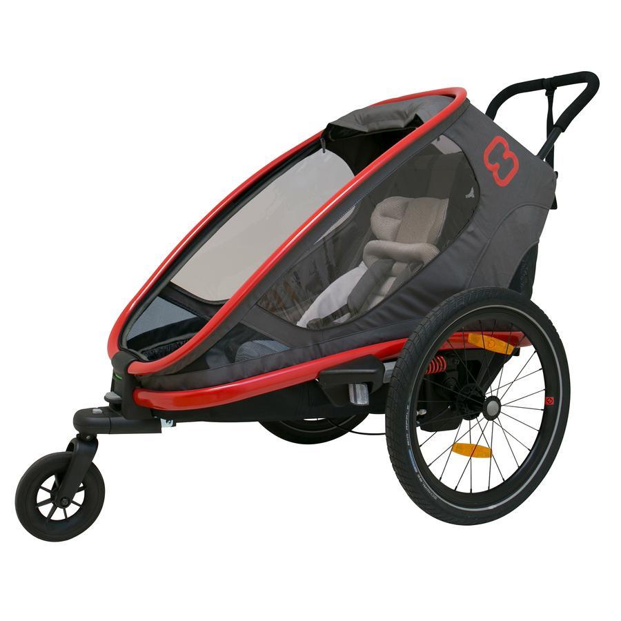 hamax Rimorchio per bici Outback One con regolazione dello schienale rosso/grigio/nero